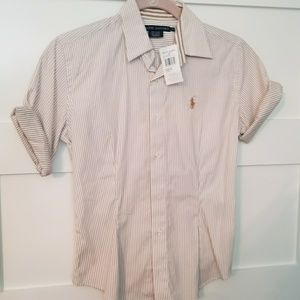 Ralph Lauren Tan / White Button Down Shirt